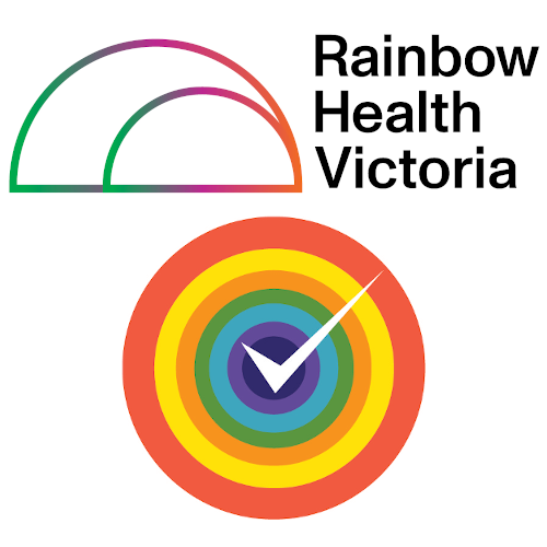 Rainbow Health Victoria logo and Rainbow Tick logo